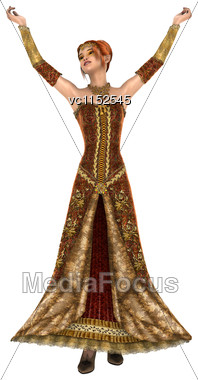 3D Digital Render Of A Beautiful Princess Of Autumn Isolated On White Background Stock Photo