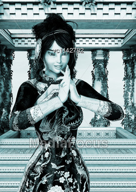3D Digital Render Of A Beautiful Princess Of China On A Fantasy Palace And A Sky Background, Old Photo Effect Stock Photo