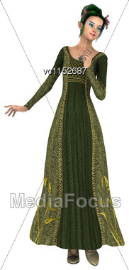 3D Digital Render Of A Beautiful Princess Of Spring Isolated On White Background Stock Photo