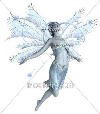 3D Digital Render Of A Beautiful Snow Fairy Isolated On White Background Stock Photo