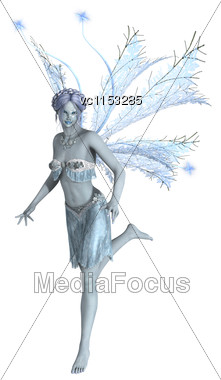 3D Digital Render Of A Beautiful Snow Fairy Flying Isolated On White Background Stock Photo