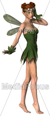 3D Digital Render Of A Beautiful Spring Fairy Isolated On White Background Stock Photo