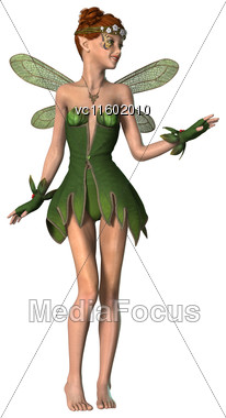 3D Digital Render Of A Beautiful Spring Fairy Flying Isolated On White Background Stock Photo
