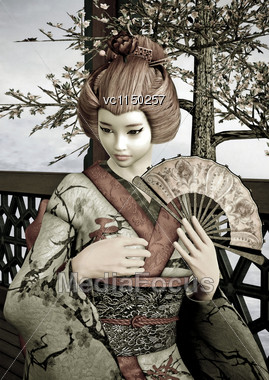 3D Digital Render Of A Beautiful Vintage Geisha Wearing Traditional Clothes Sitting In A Pavilion, Blue Sky And Cherry Blossom Background, Drawing Effect Stock Photo