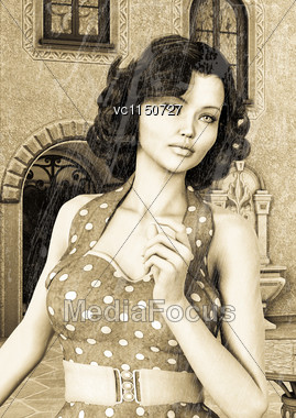 3D Digital Render Of A Beautiful Vintage Woman On A Summer Town Background, Sepia And Old Photo Effect Stock Photo