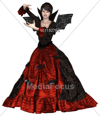 3D Digital Render Of A Beautiful Witch Isolated On White Background Stock Photo