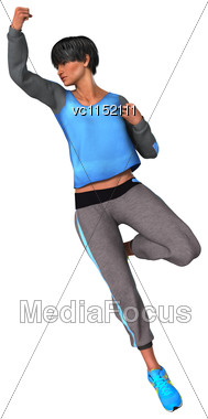 3D Digital Render Of A Beautiful Woman Doing Sport Isolated On White Background Stock Photo