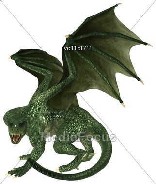 3D Digital Render Of A Big Evil Fairytale Dragon Isolated On White Background Stock Photo
