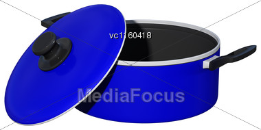 3D Digital Render Of A Blue Dutch Oven Isolated On White Background Stock Photo