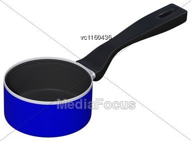 3D Digital Render Of A Blue Saucepan Isolated On White Background Stock Photo