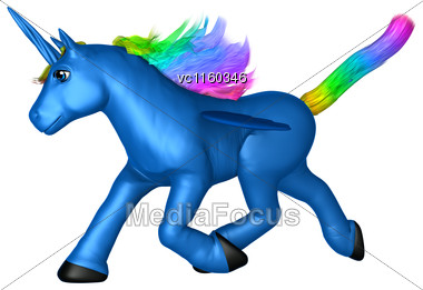 3D Digital Render Of A Blue Toy Unicorn Isolated On White Background Stock Photo