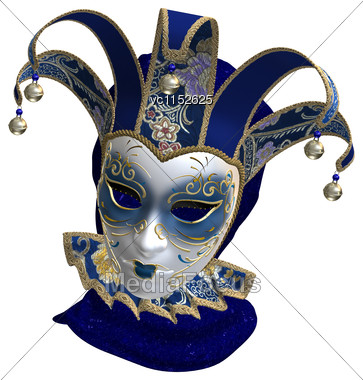 3D Digital Render Of A Blue Venetian Mask Isolated On White Background Stock Photo