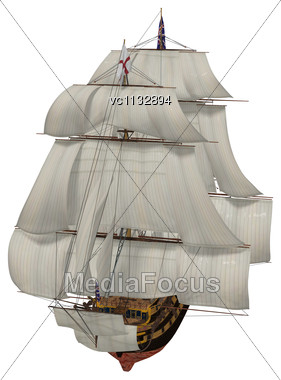 3D Digital Render Of A British Sailing Ship Isolated On White Background Stock Photo