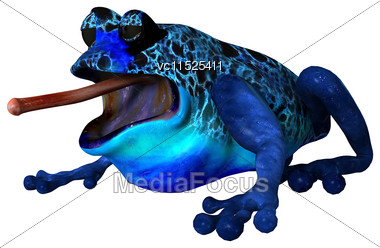 3D Digital Render Of A Cartoon Blue Frog Isolated On White Background Stock Photo