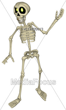 3D Digital Render Of A Cartoon Human Skeleton Isolated On White Background Stock Photo