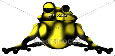 3D Digital Render Of A Cartoon Yellow Frog Isolated On White Background Stock Photo