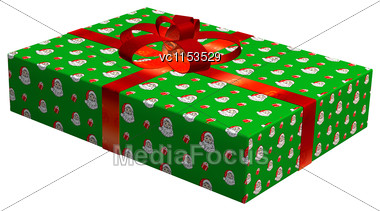 3D Digital Render Of A Christmas Gift Isolated On White Background Stock Photo