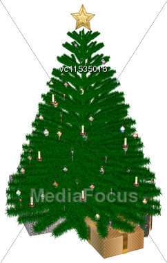 3D Digital Render Of A Christmas Tree And Presents Isolated On White Background Stock Photo