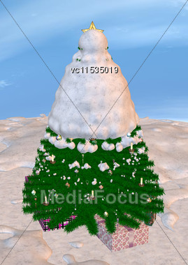 3D Digital Render Of A Christmas Tree And Presents On A Sky And Snow Background Stock Photo