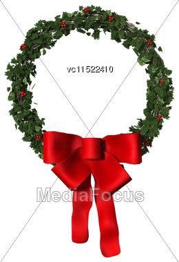 3D Digital Render Of A Christmas Wreath With A Red Bow Isolated On White Background Stock Photo