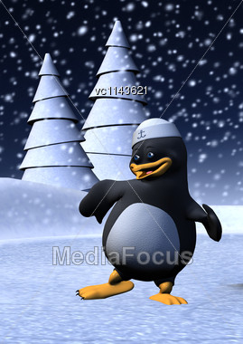 3D Digital Render Of A Cute Dancing Penguin Wearing A Sailor Hat Isolated On White Background Stock Photo