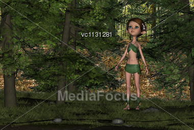 3D Digital Render Of A Cute Elf Girl In A Leafy Suit In A Green Forest Stock Photo