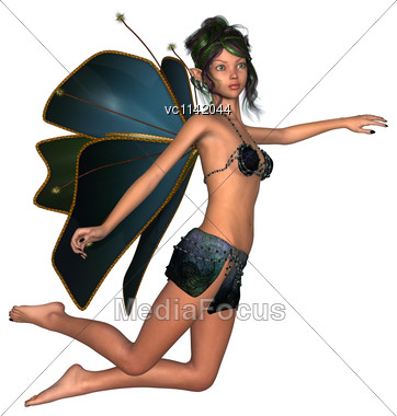 3D Digital Render Of A Cute Flying Fairy Butterfly Isolated On White Background Stock Photo