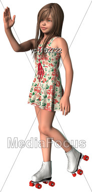 3D Digital Render Of A Cute Girl On Inline Skates Isolated On White Background Stock Photo