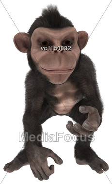 3D Digital Render Of A Cute Little Chimpanzee Isolated On White Background Stock Photo