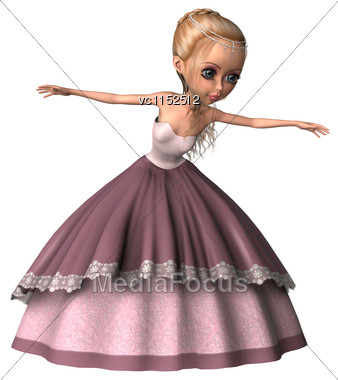 3D Digital Render Of A Cute Little Princess In A Pink Dress Isolated On White Background Stock Photo