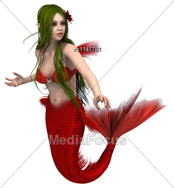 3D Digital Render Of A Cute Mermaid Isolated On White Background Stock Photo