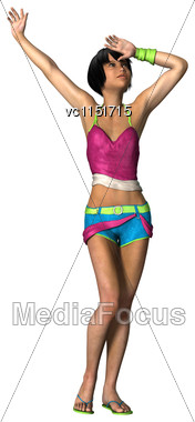 3D Digital Render Of A Cute Teenager Girl On Vacation Isolated On White Background Stock Photo