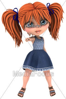 3D Digital Render Of A Cute Toon Girl Isolated On White Background Stock Photo
