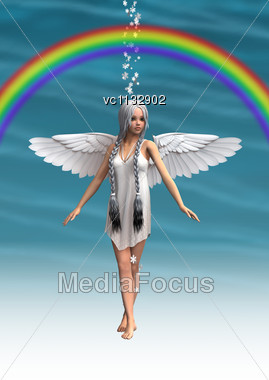 3D Digital Render Of A Cute White Angel Walking Under The Rainbow, Blue Sky Background Stock Photo