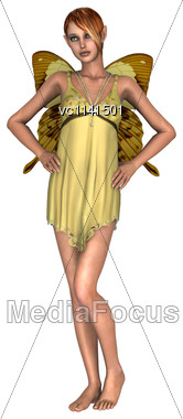 3D Digital Render Of A Cute Yellow Fairy Butterfly Isolated On White Background Stock Photo