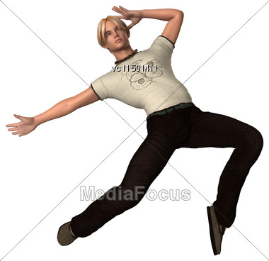 3D Digital Render Of A Dancing Teenager Boy Isolated On White Background Stock Photo
