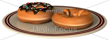 3D Digital Render Of Delicious Donuts On Plate Isolated On White Background Stock Photo