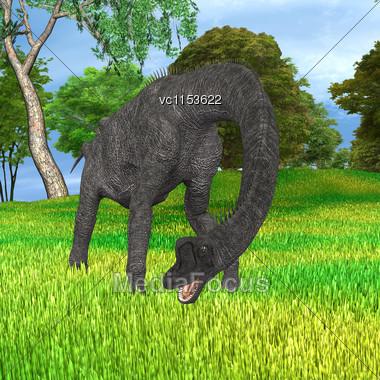 3d Digital Render Of Dinosaur Brachiosaurus In A Prehistoric Park Stock Photo