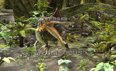3D Digital Render Of A Dinosaur Spinosaurus On A Green Forest Background Stock Photo