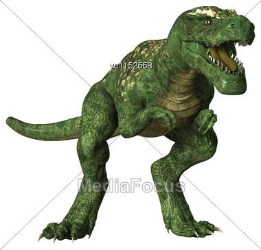 3D Digital Render Of A Dinosaur Tyrannosaurus Rex Isolated On White Background Stock Photo