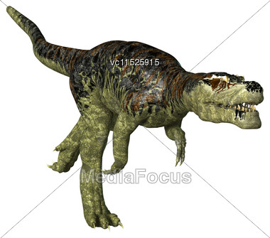 3D Digital Render Of A Dinosaur Tyrannosaurus Rex Running Isolated On White Background Stock Photo
