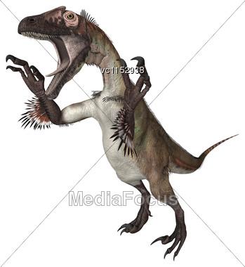 3D Digital Render Of A Dinosaur Utahraptor Isolated On White Background Stock Photo