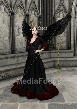 3D Digital Render Of An Evil Queen On A Fantasy Castle Background Stock Photo