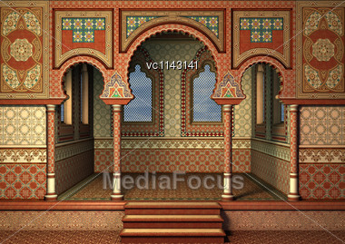 3D Digital Render Of A Fairytale Oriental Palace Isolated On A Blue Sky Background Stock Photo