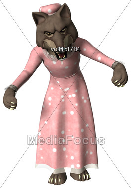 3D Digital Render Of A Fairytale Wolf In A Pink Night Dress Isolated On White Background Stock Photo