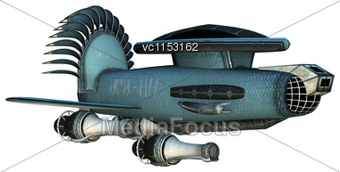 3D Digital Render Of A Fantasy Cargo Starship Isolated On White Background Stock Photo