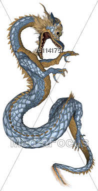 3D Digital Render Of A Fantasy Eastern Dragon Isolated On White Background Stock Photo