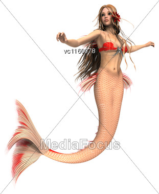 3D Digital Render Of A Fantasy Mermaid Isolated On White Background Stock Photo
