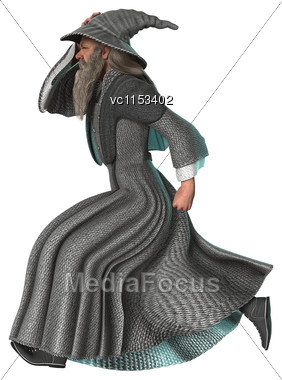 3D Digital Render Of A Fantasy Wizard Running Isolated On White Background Stock Photo