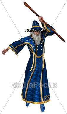 3D Digital Render Of A Fantasy Wizard Isolated On White Background Stock Photo